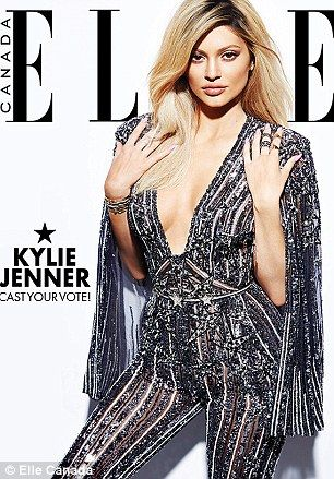 Dazzling: Kylie Jenner shimmers in two covers for Elle Canada. The final image will be vot...