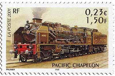 Locomotive Pacific Chapelon, 2001, dessin de Jame's Prunier @ Phil@poste / La Poste.
