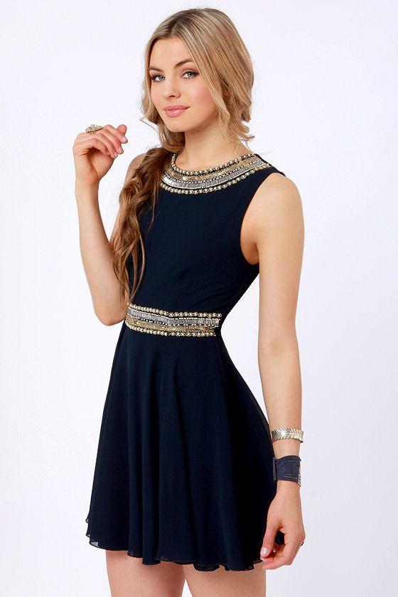 Navy blue beaded dress