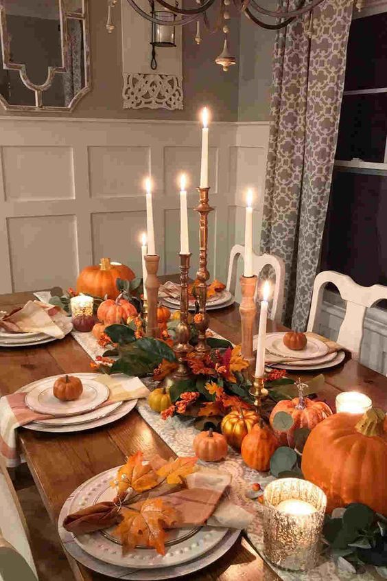 Thanksgiving Day Ideias Dining Table Decor Festivities Decor Trend Thanksgiving Dinner Table Decorations Dinner Table Decor Thanksgiving Table Settings Diy