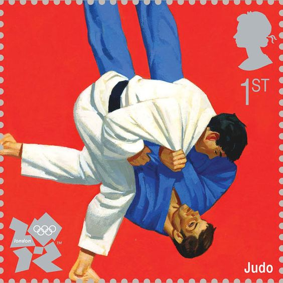 The judo image was drawn by Paul Slater    Royal Mail first class postage stamps launched for London 2012 Olympic Games