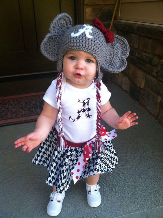 Crochet Alabama Crimson Tide Baby Newborn Hat, Crochet Elephant Hat, Big Al, Boy or Girl, Newborn, Photo Prop, Gameday on Etsy, $26.00