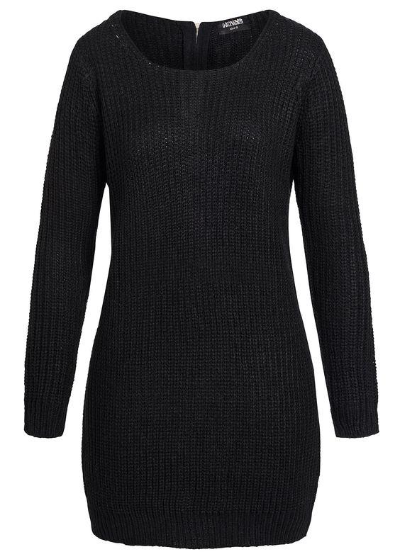 Hailys Damen Strick Pullover AM-1013194 Longform Zipper am Rücken schwarz kaufen | 77Store