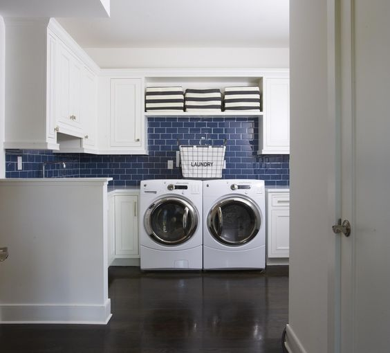 "Traditional Laundry Room with Built-in bookshelf, Striped Medium-Sized Storage Bin, Cobalt Glass Subway Tile 3"" x 6"""