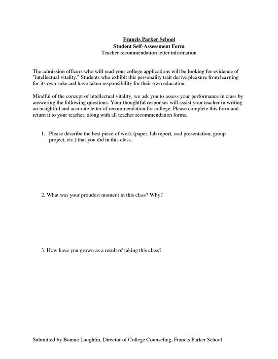 Examples Of Recommendation Letters Examples of Reference Letters - school self evaluation form