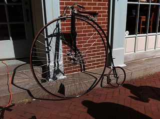 """On Saturday August 18th, Frederick was the site of the nation's only High Wheel race, as 25 cyclists rode for one hour through the streets on their """"Penny-Farthing"""" bikes. The Clustered Spires High Wheel Race was the first of hopefully, what will be many. Watch this fun video:"""