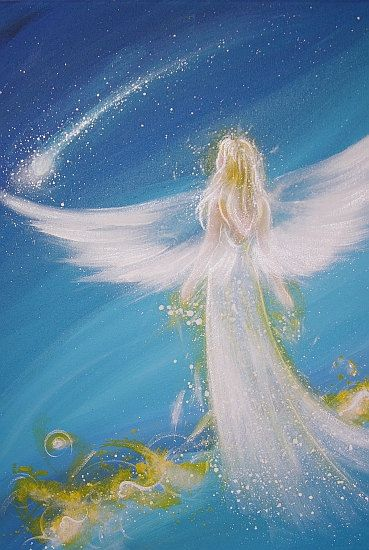 Limited angel art poster, modern contemporary angel painting, artwork, print, glossy photo,: