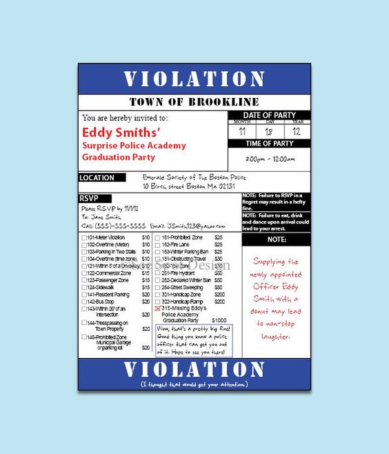 Police Ticket Invitation - Customized by me, Printed by you - ticket invitation