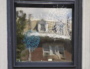 Give visitors a shimmery scare with delicate glitter-glue designs drawn right on glass. #Halloween