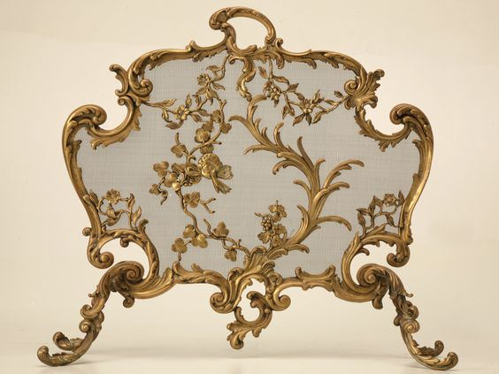 Antique French Rococo Bronze Fireplace Screen.