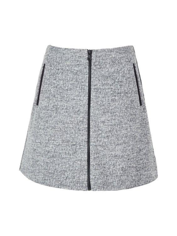 CALVIN KLEIN Fortune Zip Front Skirt - Grey | veryexclusive.co.uk