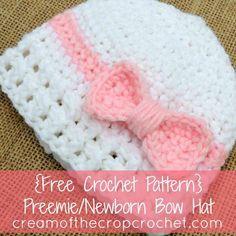 Crema de la Crochet Cultivos ~ bebés prematuros / recién nacido del sombrero del arco {gratuito Crochet Patrón}