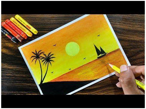 Sunset Scenery With Oil Pastel For Beginners Step By Step Oil Pastel Drawings Landscapes For Kids Sunset Scener 2020 Pastel Boyalar Cizimler Gorsel Sanatlar