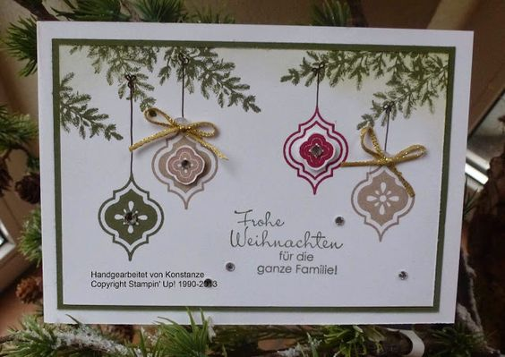 features Stampin Up's Mosaic Madness stamp set and coordinating punch for a lovely Christmas card