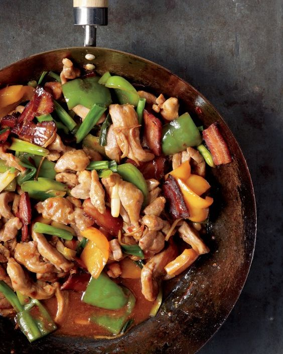 Our down-home spin on Asian stir-fry mixes succulent turkey thighs, thick-cut bacon, and Asian flavorings like ginger and chili sauce. With plenty of rice, everyone in the family will be satisfied.