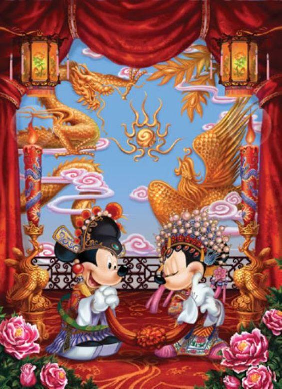 中国風のミッキーマウスとミニーマウス