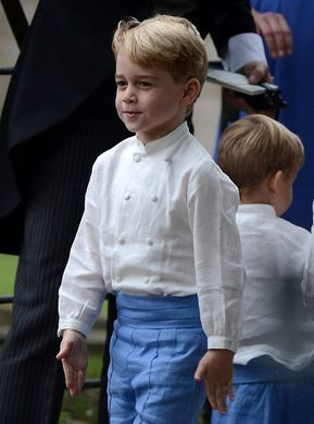 Five-year-old Prince George of Cambridge laughed and giggled at the wedding– and even led his fellow pageboys in a game of soldiers marching around the church drive after the ceremony.