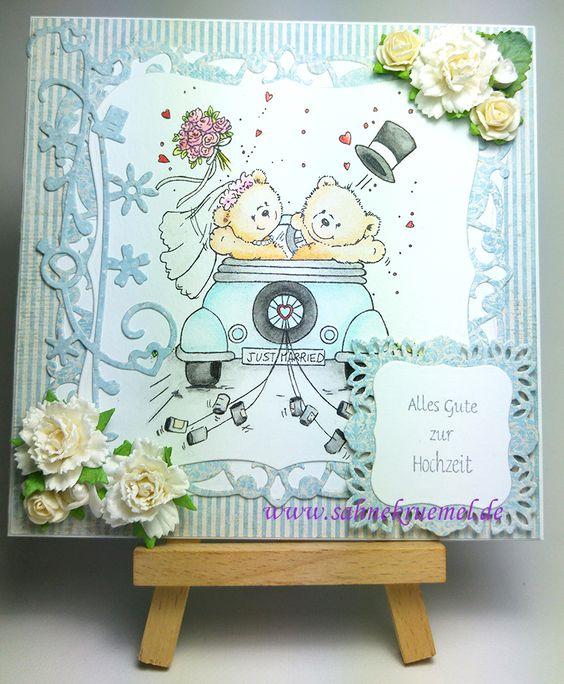 """Wedding Card with """"Just Married"""" Wild Rose Studio; Framelits """"Köstliche Etiketten"""" Spellbinders; Paperflowers Marianne Design; Die """"Wedding Cascade"""" Wild Rose Studio; Sentiment """"Allgemeine Grüße, klein"""" Iris-istible; Designerpaper """"Vintage Spring Basics"""" Maja Design; colored with TwinklingsH2O // Wedding Card DIY"""