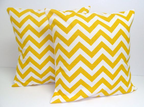 SALE.Yellow PILLOW SET.Chevron.Set of Two.16x16 inch.Decorator Pillow Covers.Printed Fabric Both Sides.Housewares.Home Decor