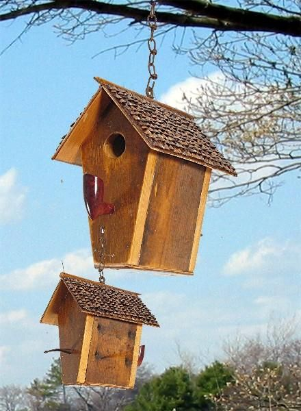 149C Rustic salvage wood hanging birdhouse with polished wood vintage putter perch recycledbirdhouse.com