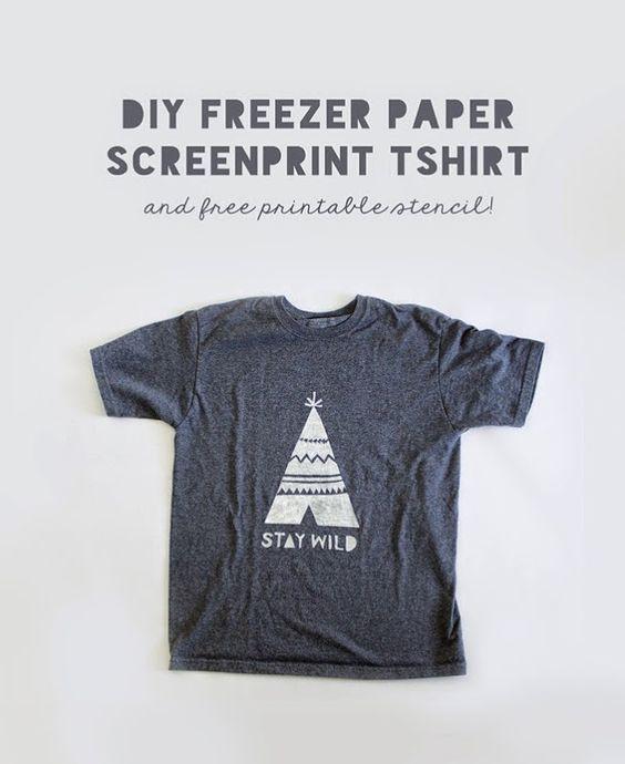 Cute diy freezer paper tshirt stencil free printable for Diy screen printing t shirts