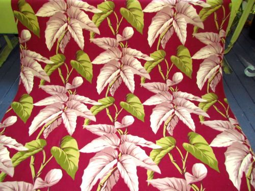 Cocoa-Lime-Caladiums-on-Deep-Merlot-Wine-VTG-Barkcloth-Fabric-Drape-Curtain