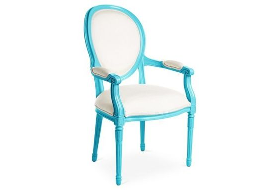 Melrose Outdoor Armchair, Blue/White