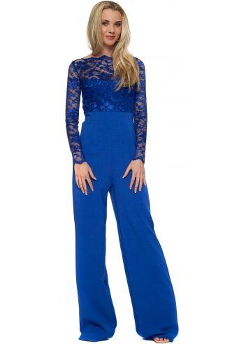 Tempest Cobalt Blue Lace Overlay Billie Jumpsuit | Designer ...