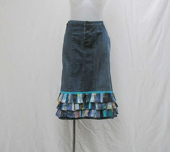 Blue fringe jeans skirt, Plus size Denim Skirt, upcycled plus size ...