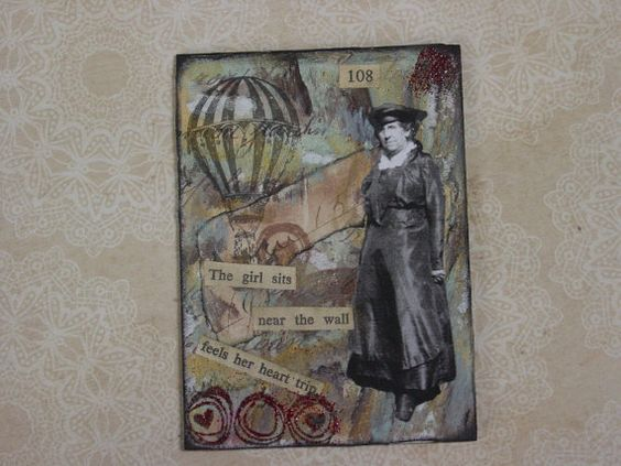 Steampunk Style Mixed Media ATC ACEO Card by GardenSpellGhostTale, $4.00