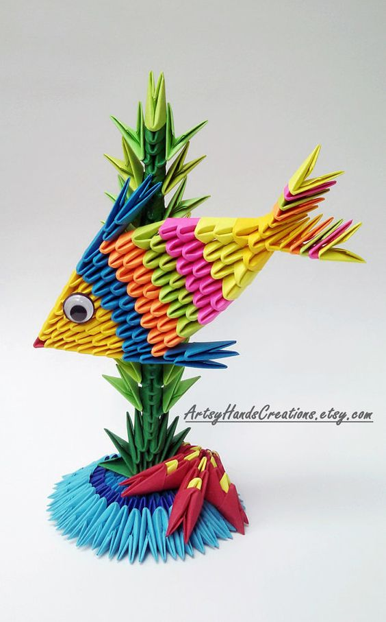 3d Origami Fish Paper Fish 3d Fish Origami by ArtsyHandsCreations: