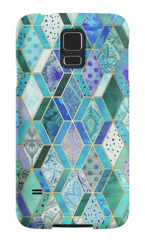 """Sapphire & Emerald Diamond Patchwork Pattern"" Samsung Galaxy Cases & Skins by micklyn 