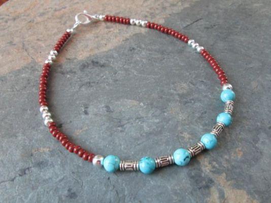 Dye Howlite, Turquoise Semi Precious Stone Hemp Anklet Bracelet