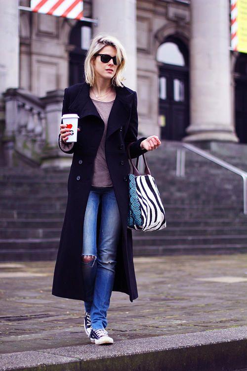 long coat, denim, tee & chucks. oh and a coffee. excellent. #SofieValkiers #Fashionata