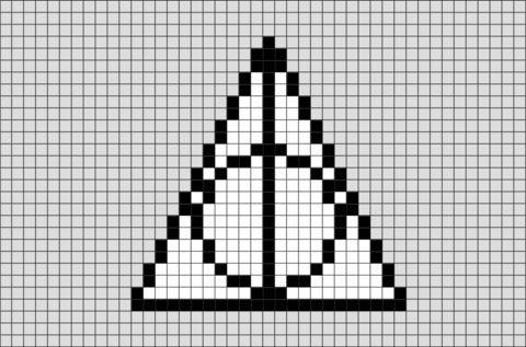 Harry Potter Zeichen Der Heiligtumer Des Todes Pixel Art Harry Potter Cross Stitch Pattern Harry Potter Crochet Harry Potter Sign