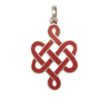 "Handcrafted Tibetan Endless Knot Tibetan pendant of coral represents the unconditioned continuum of mind that has neither beginning nor end. 3/4"" x 1 3/8"""