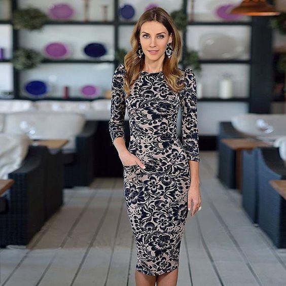 2015 nova moda vestido desgaste meia manga pescoço elegante escritório vestido com bolsos de alta qualidade do vestido em Vestidos de Moda e Acessórios no AliExpress.com | Alibaba Group