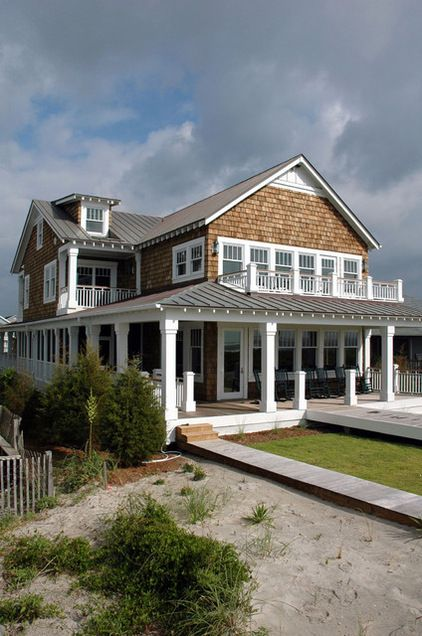 Beach style home dream home pinterest wrap around for Shingle style beach house plans