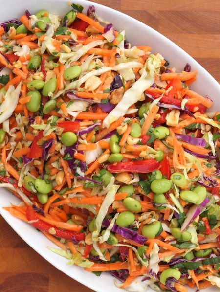 Asian slaw - The ginger-peanut dressing is a keeper for other recipes as well. Took less than 15 minutes to pull together with bagged slaw and shredded carrots.