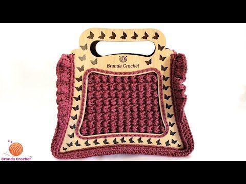كروشيه شنطة بالإطار الخشب وخيط القيطان الجزء الثاني Crochet Wooden Bag Tutorial Youtube Chanel Boy Bag Shoulder Bag Bags