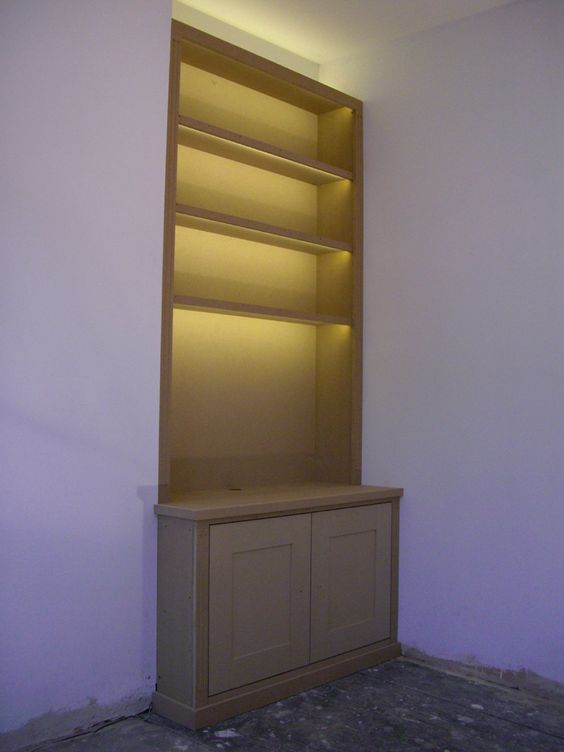 fitted alcove bookcase with lumilum warm white led strip lights built in shelves www alcove lighting ideas