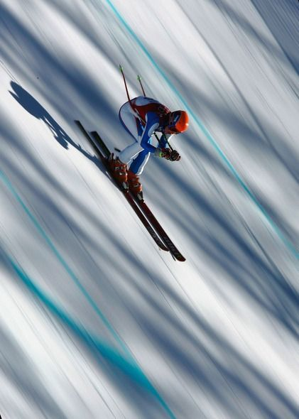 Eva Huckova of Slovakia competes in the women's alpine skiing downhill training on day 3 of the Turin Winter Olympic Games on Feb. 13, 2006....