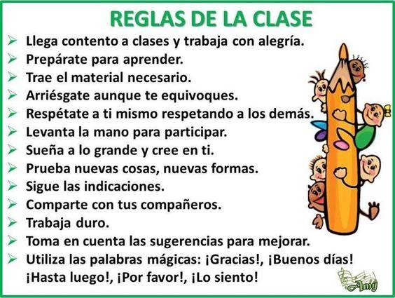 Las normas, tanto de clase como fuera de ella, deben consensuarse con el alumnado y llegar a ellas tras reflexionar sobre la conveniencia. Cartel Las reglas de clase
