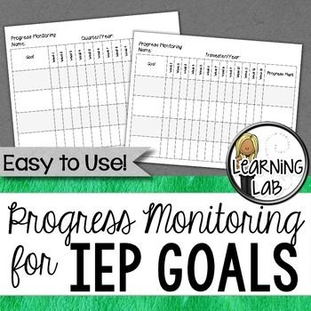 Progress monitoring for IEP Goals.  Special Education.