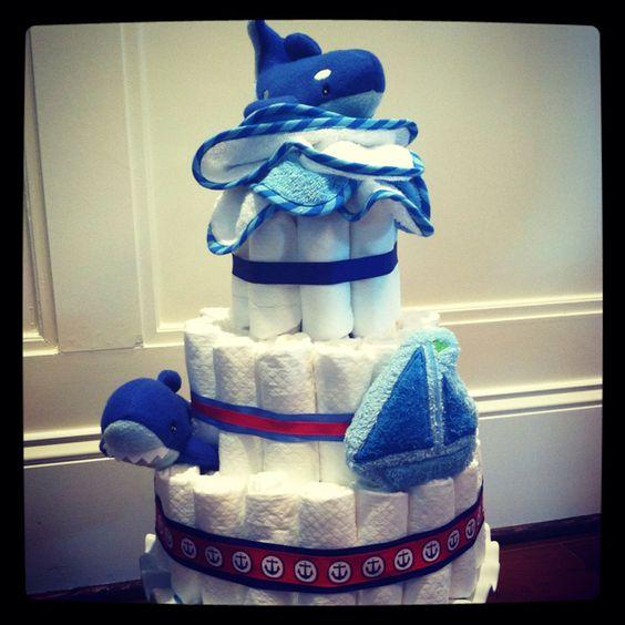 Nautical themed diaper cake.
