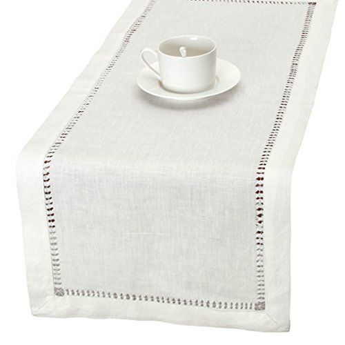 100 Pure Linen Handmade Hemstitched White Lace Table Runners Rectangle 14x84 Inch Lace Table Runners Pure Products Handmade