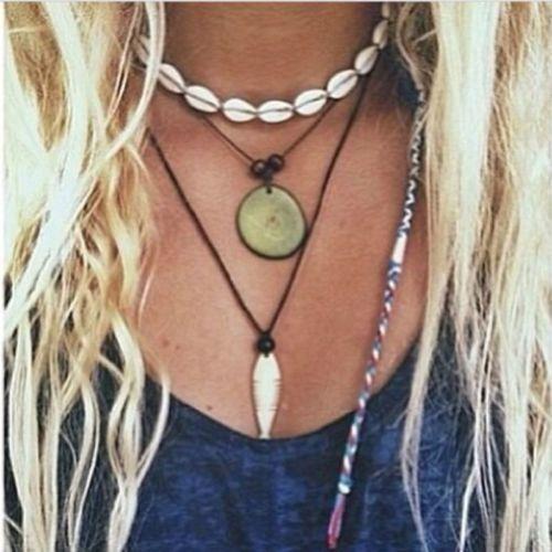 Hot Beach Bohemia Velvet Shell Pendant Chain Choker Rope Tassel Necklace Jewelry