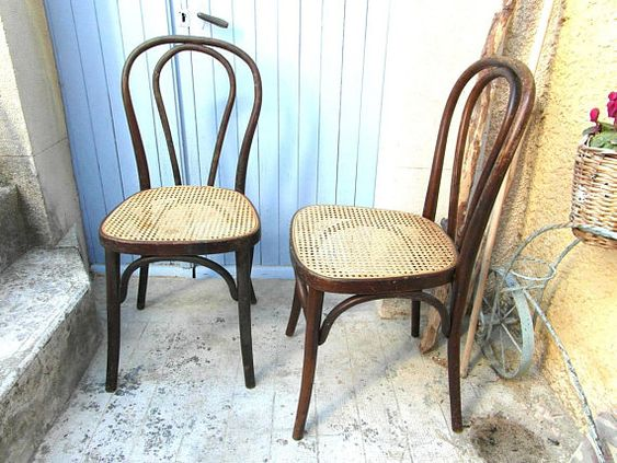 2 French bentwood chairs cane seat French bistro chairs