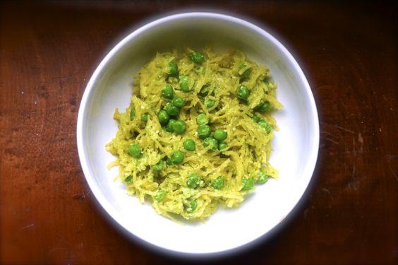 Spring Pea Pesto with Spaghetti Squash (vegan, gluten-free, paleo)