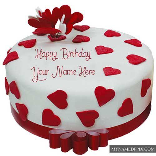 Write Name Chocolate Heart Happy Birthday Cake Images Online